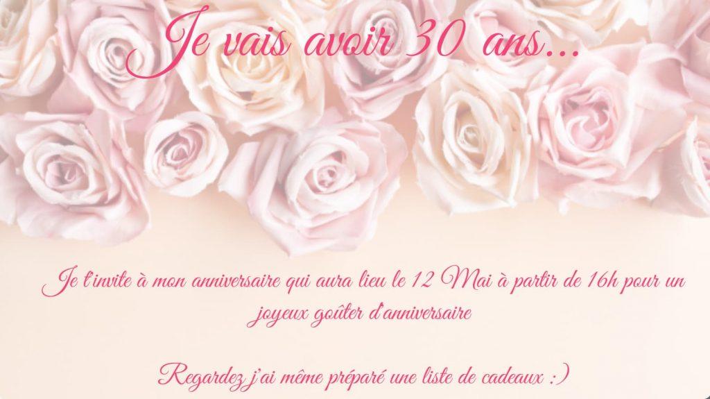 Créer son invitation d'anniversaire carte 30 ans