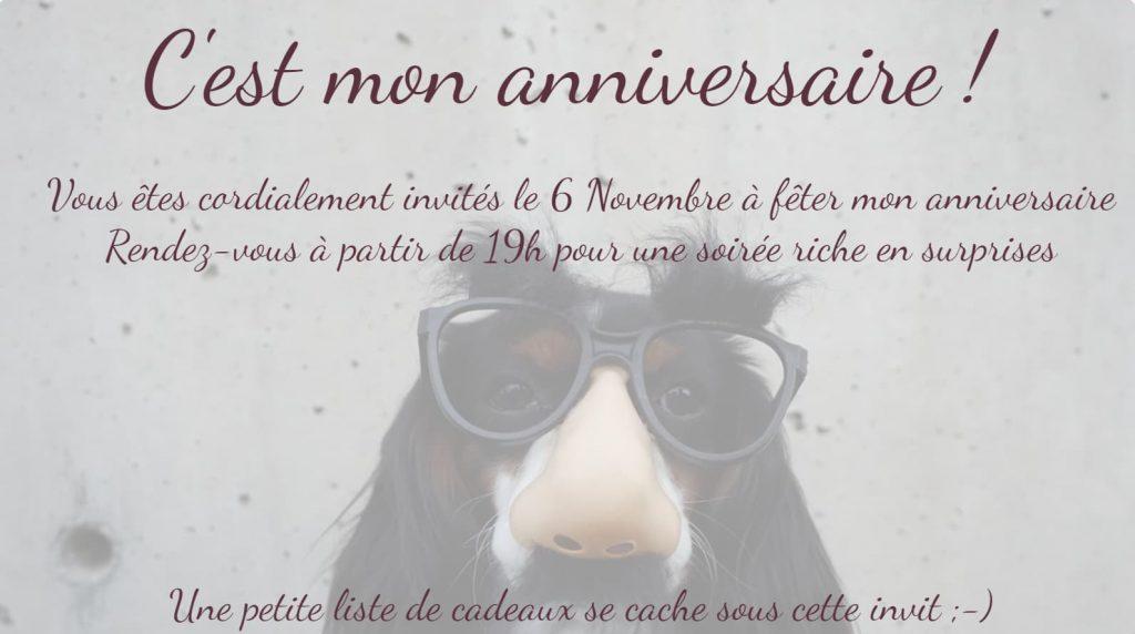 Créer son invitation d'anniversaire carte chien déguisé